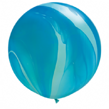 Giant SuperAgate Balloons - Blue Rainbow (30 Inch) 2pcs